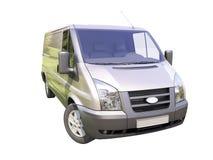 Grå kommersiell leveransskåpbil Arkivbild
