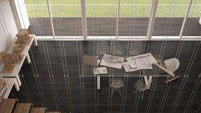 Grå kontor för Minimalist, arkitekt och planläggningsavdelning, bästa v stock illustrationer