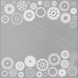 Grå kugghjulbakgrund Royaltyfri Illustrationer