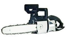 Grå manuell chainsaw som isoleras på en vit bakgrund. Arkivfoto
