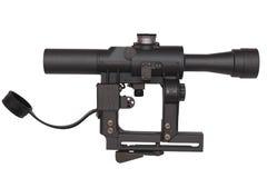 Grå militär riflscope som isoleras på vit Royaltyfri Bild