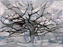 grå mondrian tree stock illustrationer