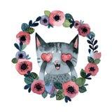 Grå randig katt med hjärtor i en krans av blommor vektor illustrationer