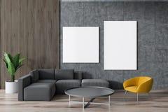Grå soffa, gul fåtöljvardagsrum, affischer royaltyfri illustrationer