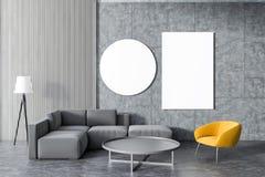 Grå soffa, gul fåtöljvardagsrum, galleri vektor illustrationer