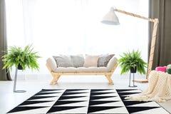 Grå soffa i plan inre royaltyfri foto