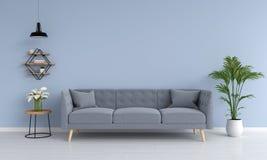 Grå soffa och ramp, växt, tabell, i vardagsrum, tolkning 3D vektor illustrationer