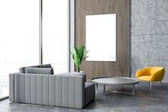 Grå soffa, panorama- vardagsrum för gul fåtölj stock illustrationer