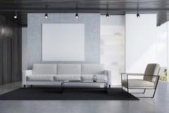 Grå soffavardagsrum med en affisch royaltyfri illustrationer
