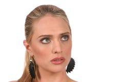 grå ståendekvinna för härliga blonda ögon royaltyfri fotografi