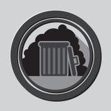 Grå symbol för avskrädefack med skugga i cirkel - mobil & rengöringsduksymbol Royaltyfri Fotografi