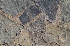 Grå textur av den grova stenen på vägen royaltyfri fotografi