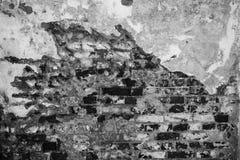 Grå textur av en gammal vägg av en forntida byggnad med ett förstört murbruklager och spruckna tegelstenar Royaltyfri Bild