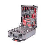 Grå toolbox med instrument Arkivfoto