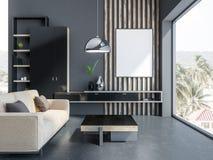 Grå vardagsrum, beige soffa och affisch vektor illustrationer