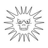 Grå virussymbol i översiktsstil som isoleras på vit bakgrund Virus och illustration för vektor för bacteriessymbolmateriel Arkivfoto