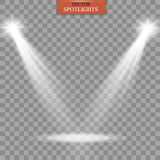 Gråa glödande strålkastare för realistisk vit på genomskinlig lagd bakgrund Teaterstudio, platsbelysning Magi som är ljus, gradie Fotografering för Bildbyråer
