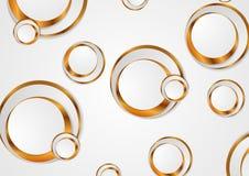 Gråa guld- cirklar gör sammandrag företags bakgrund vektor illustrationer