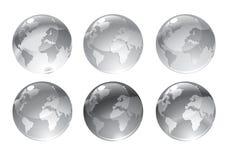 Gråa jordklotsymboler vektor illustrationer