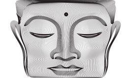 Gråa linjer Buddhaframsidastaty för abstrakt begrepp 3d royaltyfri illustrationer