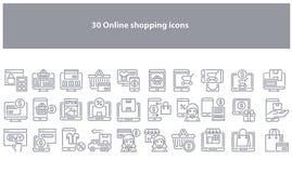 Gråa online-shoppa symboler för vektor - vektor vektor illustrationer
