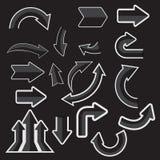 Gråa pappers- pilklistermärkear med skuggor Arkivbilder