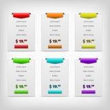 gråa prissättningtabeller med färgvariation Arkivbild