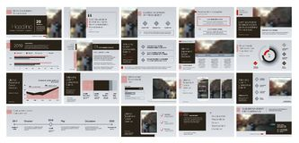 Gråa röda presentationsmallbeståndsdelar på en vit bakgrund Arkivbild