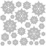 Gråa smutsiga snöflingor på vit Fotografering för Bildbyråer