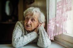 Gråhårig äldre ensam kvinnastående royaltyfri fotografi