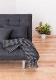 Gråna sofaen och den ljusa växten i vardagsrumet Royaltyfri Bild