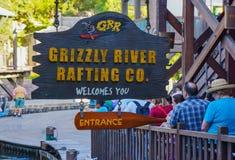 Gråsprängt tecken för affärsföretag för Rafting för flod Disney Kalifornien royaltyfri fotografi