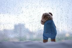 Gråt Teddy Bear på fönstret i regnig dag royaltyfri bild