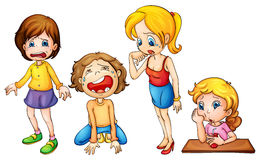 Gråta för flickor stock illustrationer