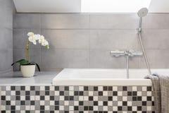 Grått badrum med mosaiktegelplattor Royaltyfria Bilder