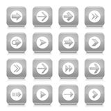 Grått för symbolsrengöringsduk för pil tecken rundad fyrkantig knapp Arkivfoto