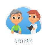Grått hårläkarundersökningbegrepp också vektor för coreldrawillustration Royaltyfria Foton
