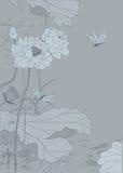 Grått kinesiskt lotusblommalandskap Royaltyfria Bilder