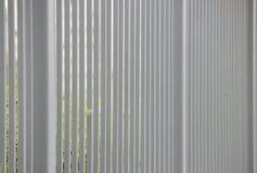 grått metallstaket i längden som en bakgrund och ett gräsplanblad Royaltyfri Bild