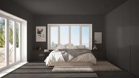 Grått minimalist sovrum för skandinav med det panorama- fönstret, pälsmatta och fiskbensmönsterparketten, modern arkitekturinrede stock illustrationer