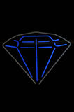grått neontecken för blå diamant Arkivfoto