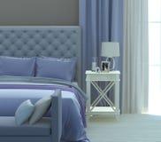 Grått och blått sovrum Royaltyfri Fotografi