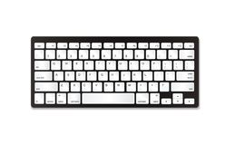 Grått plast- tangentbord med vita knappar arkivbild