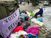 Grève de la faim des réfugiés images libres de droits