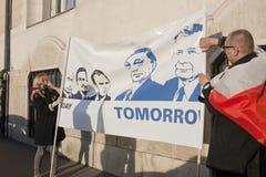 Grève de solidarité polonaise par le gouvernement hongrois Image libre de droits