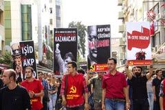 Grève pour des explosions de bombe de rassemblement de paix d'Ankara Photographie stock libre de droits
