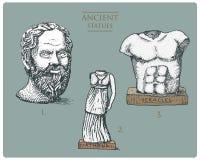 Grécia antigo, as esculturas antigas de athena, socratus e de hercules, vintage dos heracles, gravaram a mão tirada no esboço ou ilustração stock