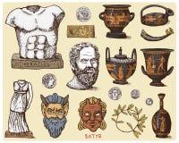 Grécia antigo, cabeça antiga de Socrates dos símbolos, grinalda do louro, estátua de athena e cara com moedas, ânfora do sátiro,  ilustração royalty free