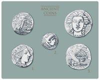 Grécia antigo, moedas de prata dracma tetra dos símbolos antigos, medalhas com hercules, heracles e athena com coruja, demetra ilustração do vetor