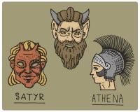 Grécia antigo, símbolos antigos, perfil de athena e cara do sátiro, mão gravada tirada no esboço ou estilo do corte da madeira, v ilustração do vetor